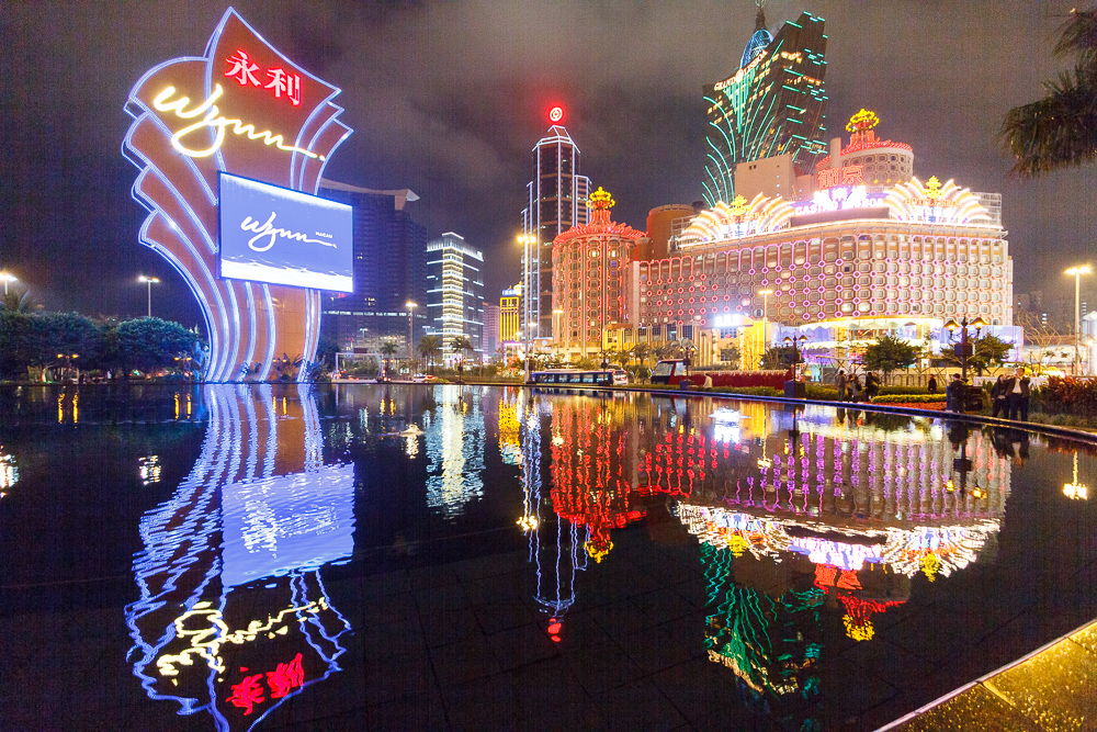 Casino Lisboa and Grand Lisboa from Wynn Casino by night
