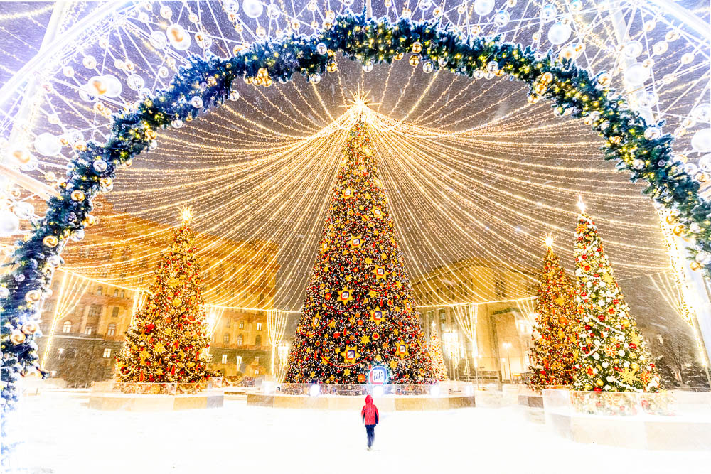 Christmas in Moscow in Russia - Noel a Moscou en Russie - Place Loubianka